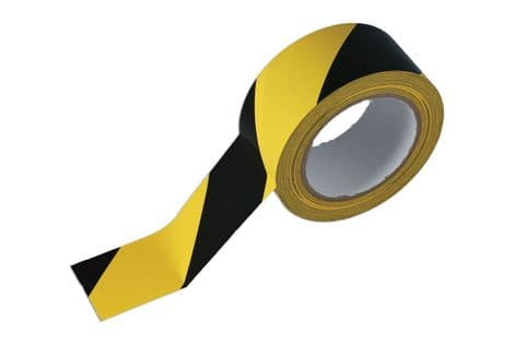 Connect 35366 Black & Yellow Barrier Tape 50mm x 33m Adhesive Pack 1