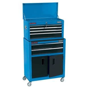 """Draper DR19563 24"""" Combined Roller Cabinet & Tool Chest With 6 Drawers (Blue)"""