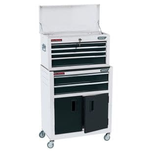 """Draper DR19576 24"""" Combined Roller Cabinet & Tool Chest With 6 Drawers (White)"""