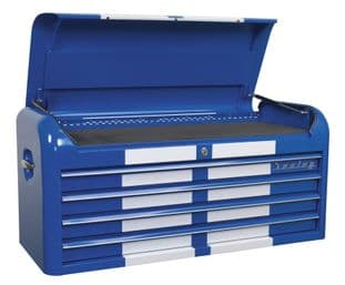 Sealey AP41104BWS Topchest 4 Drawer Wide Retro Style - Blue with White Stripes