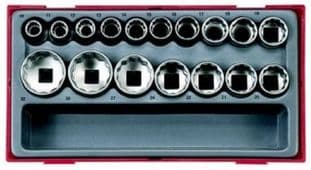 "Teng TT1217-6 1/2"" Drive 6 Point Socket Set"