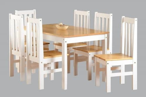 Ludlow 1+6 Dining Set WHITE/OAK