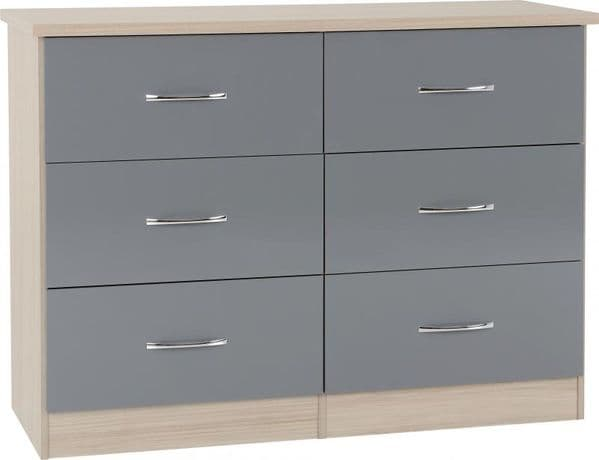 Nevada 6 Drawer Chest GREY GLOSS
