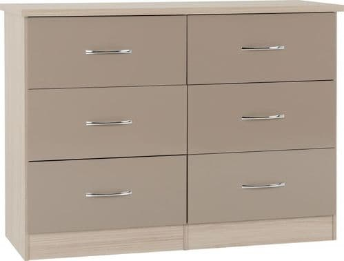 Nevada 6 Drawer Chest OYSTER GLOSS