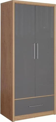 Seville 2 Door 1 Drawer Wardrobe GREY