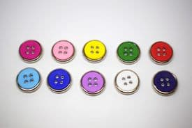 A211-15mm BABY SIZE 4 HOLE MANY COLOURS - SILVER RING- ITALIAN BUTTONS- price is for 5 buttons