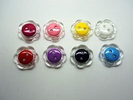 A242cl-18mm FLOWER SHAPE WITH COLOUR CENTRE - MANY COLOURS -ITALIAN BUTTONS- price is for 5 buttons