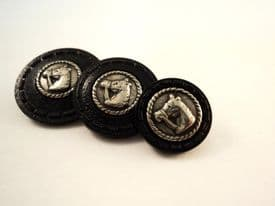 A25-15-20-23mm RARE VINTAGE SILVER HORSE HEAD ITALIAN BLACK PLASTIC BUTTONS - price is for 5 buttons