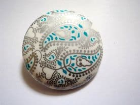 B1-MONICA-38mm VERY BIG FLOWER DETAIL TEAL + SILVER PATTERN -ITALIAN BUTTONS- price is for 2 buttons