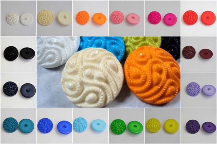 B167-27mm LARGE VINTAGE DESIGN SHANK PLASTIC BUTTONS-WIDE RANGE OF COLOUR - price is for 3 buttons