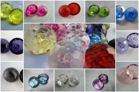 B226cl-13mm BABY CRYSTAL DIAMOND GLASS EFFECT SHANKED PLASTIC BUTTONS - price is for 10 buttons
