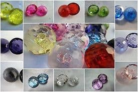 B226cl-25mm CLEAR LARGE CRYSTAL DIAMOND GLASS EFFECT PLASTIC BUTTONS - price is for 4 buttons