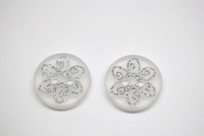 B259-15mm BABY SIZE -SILVER SWIRLY GLITTER FLOWER ON 2 HOLE -ITALIAN BUTTONS- price is for 5 buttons