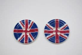 B348UK-21mm UNIQUE UK FLAG UNION JACK IMAGE - BIG 4 HOLE -ITALIAN BUTTONS- price is for 3 buttons