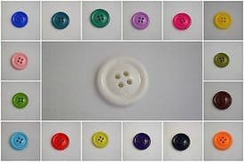 B35-23mm CLOWN 4 HOLE ITALIAN PLASTIC BUTTONS LARGE SELECTION OF COLOUR - price is for 10 buttons