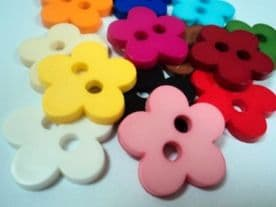 B511- 26mm LARGE BACK FLAT FLOWER PLASTIC ITALIAN BUTTONS -LOT OF COLOURS - price is for 5 buttons