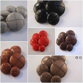 B63-20mm FOOTBALL LEATHER LOOK PLASTIC ITALIAN BUTTONS - MANY COLOURS - price is for 5 buttons