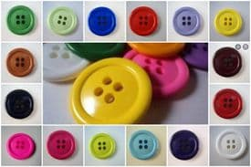 B747-34mm VERY LARGE CLOWN 4 HOLE PLASTIC SOLID BUTTONS-LOT OF COLOUR - price is for 5 buttons