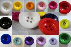 B780-25mm LARGE PLASTIC 4 HOLE BOWL CLOWN BUTTONS-SELECTION OF COLOUR - price is for 5 buttons