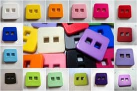 B842-28mm DIAGONALLY - LARGE MATT CLOWN SQUARE PLASTIC ITALIAN BUTTONS - price is for 5 buttons