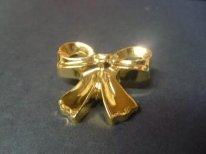 B861-29mm LARGE GOLD&SILVER BOW ITALIAN SHANK PLASTIC BUTTONS - price is for 3 buttons