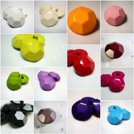 B942-23mm LARGE SHAPED DIAMOND EFFECT SOLID PLASTIC ITALIAN BUTTONS-COLOURS - price is for 5 buttons