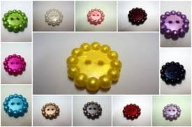 B975pe-23mm BUBBLE SHAPE FLOWER PEARLED PLASTIC ITALIAN BUTTON- price is for 10 buttons