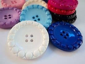 B996-34mm RARE VERY LARGE CLOWN WITH CIRCLES 4 HOLE ITALIAN PLASTIC BUTTONS - price is for 2 buttons