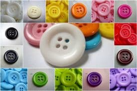 C2029-23-28mm SELECTION OF COLOUR- LARGE CLOWN PLASTIC BUTTONS 4 HOLE - price is for 5 buttons
