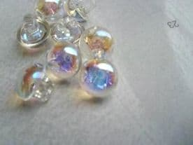 C296-9mm TINY TRASPARENT IRIDESCENT BABY WEDDING PLASTIC ITALIAN BUTTONS - price is for 10pcs