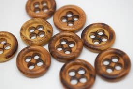 W1003-15mm REAL NATURAL OLIVE WOOD- CURVED BURNT WOOD -ITALIAN BUTTONS- price is for 10 buttons