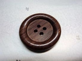 W1003-28mm VERY LARGE NATURAL WOOD BUTTONS 28mm REAL ITALIAN ROSEWOOD - price is for 2 buttons