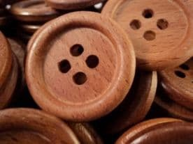 W1003-30mm LARGE NATURAL ITALIAN BEECH WOOD 4 HOLE BUTTONS - MADE IN ITALY - price for 5 buttons