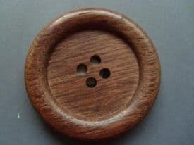 W1003-45mm VERY LARGE NATURAL WOOD BUTTONS REAL ITALIAN ROSEWOOD - price is for 2 buttons