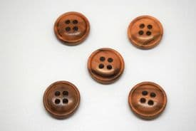 W1078-15mm BABY REAL NATURAL OLIVE WOOD 4 HOLE CURVED BACK -ITALIAN BUTTONS- price is for 10 buttons