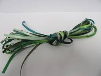 10 x 1 metre lengths assorted satin ribbon,  Double sided 3mm GREEN ONLY