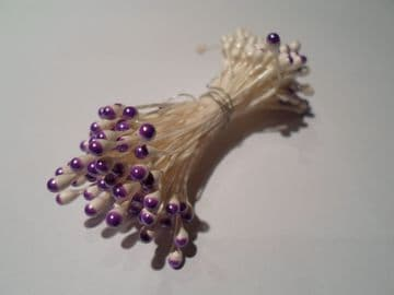100 x wired Flower stamens, White stem & Purple head, Double headed, Perfect for sugarcraft, crafts