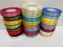 15mm Edged Organza Ribbon 2 metres or 25 metre roll double sided Satin UK