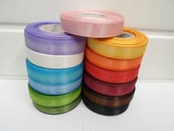 15mm Sheer Organza Ribbon 2 metres or 25 metre roll double sided 15 mm UK