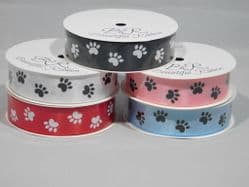 2 metre or Full Roll (25 mtrs) 25mm Paw Print Satin Double Ribbon Dog Pet