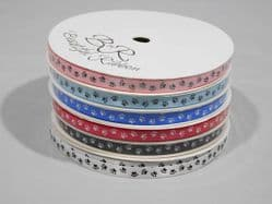 2 metre or Full Roll (25 mtrs) 7mm Paw Print Satin Double Ribbon Dog Pet