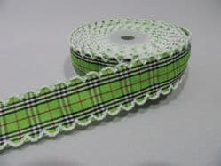 2 metres or 10 metre Roll 25mm Green Tartan Vintage Scalloped Edge Ribbon Cotton