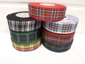 2 metres or 25 metres (Full Roll) 38mm Tartan Ribbon double sided scotish UK