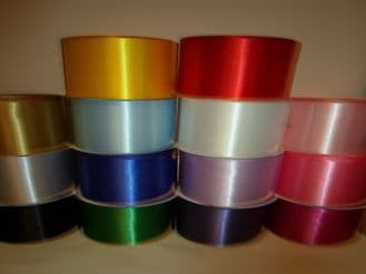 2 metres or ful roll x 100mm / 10cm Satin Ribbon single sided perfect for party saches