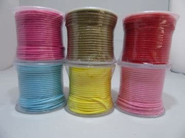 2 metres or Full 25m Roll  2mm Wax coated Twine Rope String Thread Cord