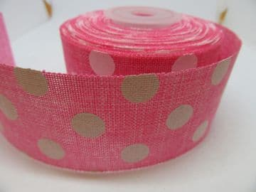 2 metres or Full Roll 25mm 38mm Light Pink Vintage Hessian Large Polka Dot Ribbon 25 38 mm