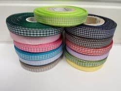 2 metres or full roll x 10mm Gingham Ribbon Double Sided check UK