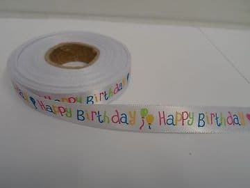 2 metres or full roll x 15mm Happy Birthday Satin Ribbon White & Multi UK