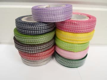 2 metres or full roll x 5mm Gingham Ribbon Double Sided check UK