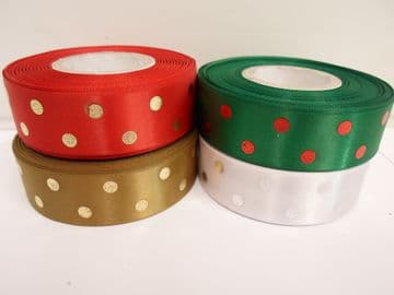 2 or 20 metres x 25mm metallic polka dot satin ribbon